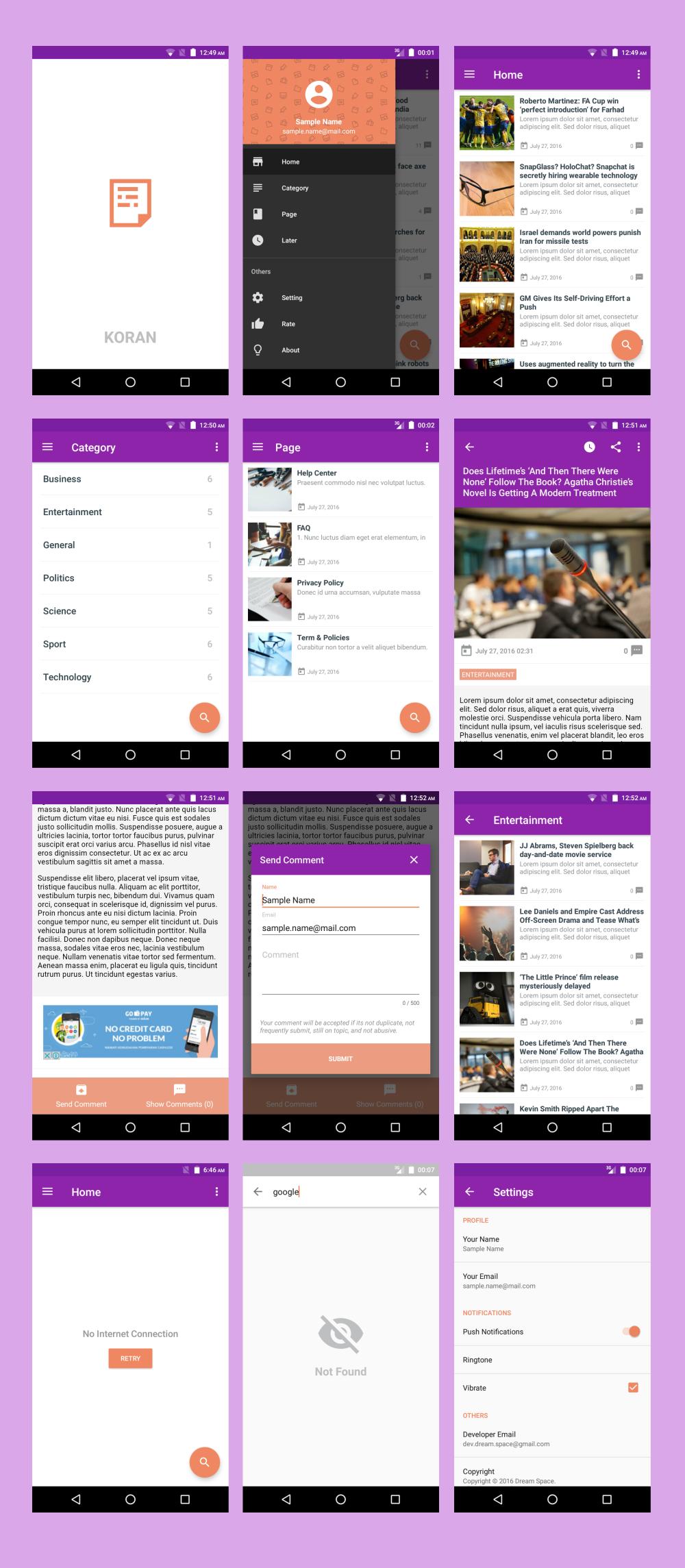 Koran - Wordpress App with Push Notification 3 5