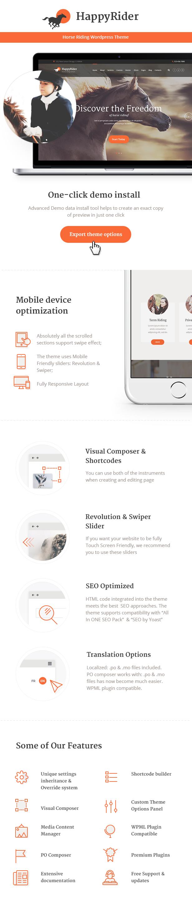 Rider - Horse School & Equestrian Center WordPress Theme features