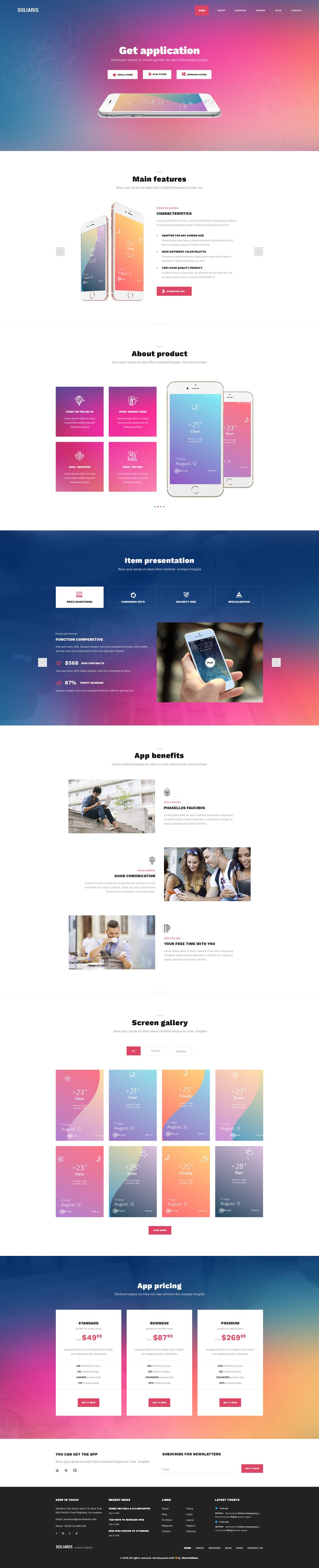 Soliaris - 18 One Page Bootstrap Templates by ElectricBlaze ...