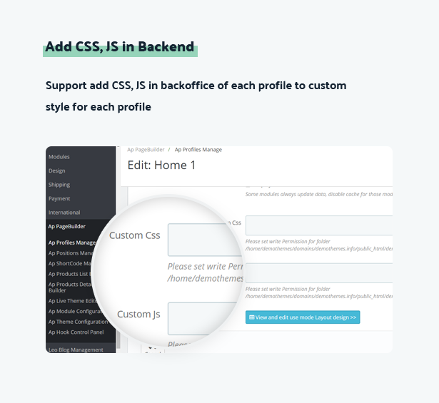add css js in backend