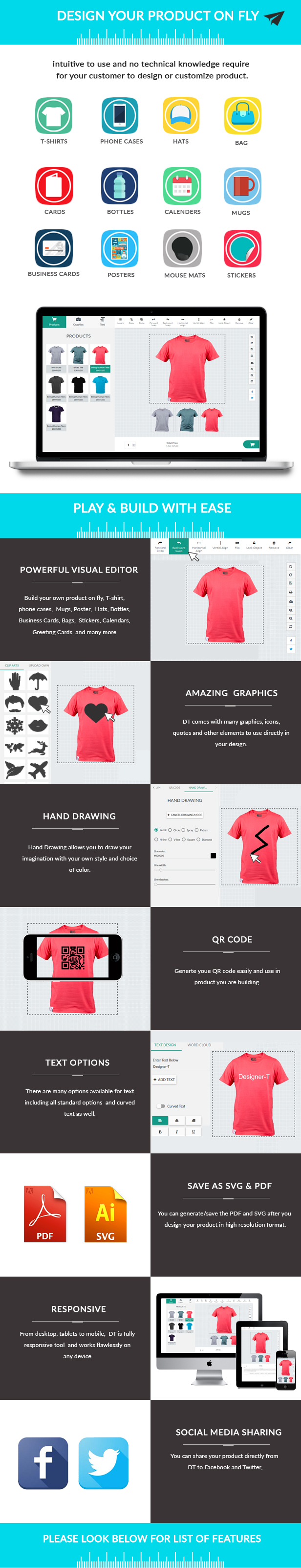 T shirt design jquery - Partial List Of Features