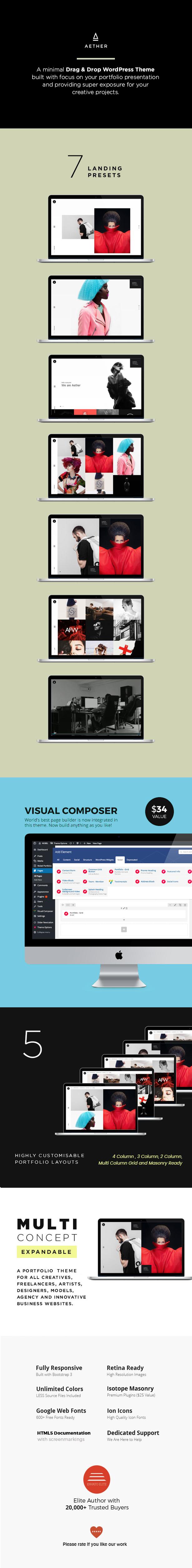 Aether - WordPress Minimal & Enjoyable Multi-Concept Portfolio / Agency Theme - 1