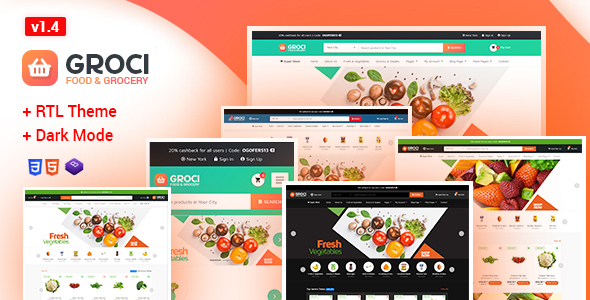 Groci - Organic Food & Grocery Market Template - Retail Site Templates