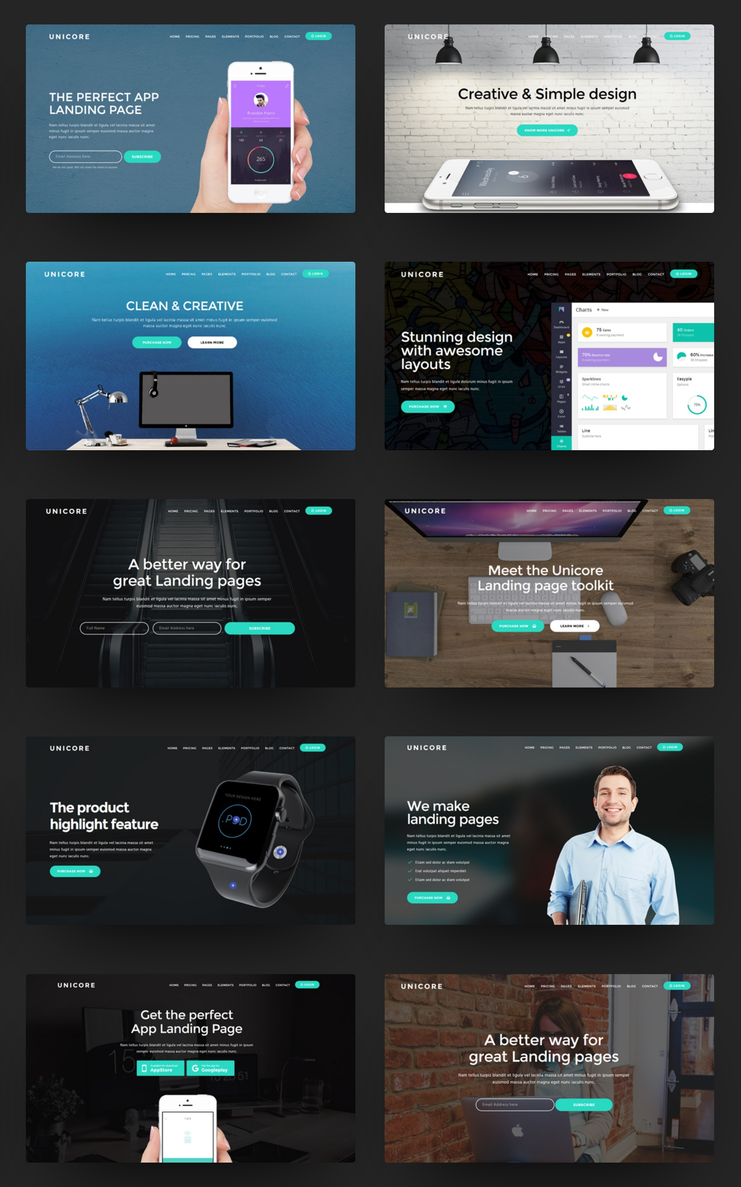 Unicore Mobirise Builder With HTML Bootstrap Landing Page - Simple landing page html template