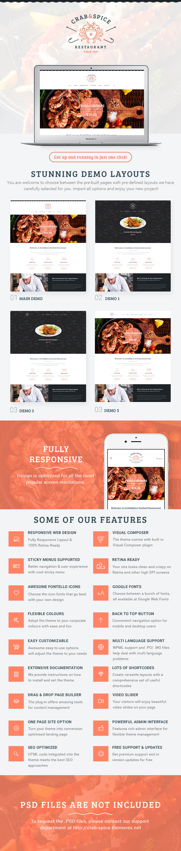 Crab & Spice | Restaurant and Cafe WordPress Theme - 2