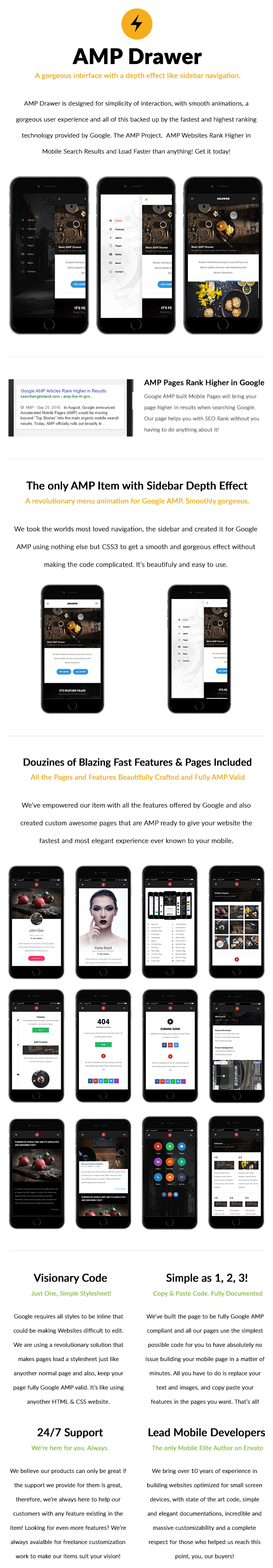 AMP Drawer | Mobile Google AMP Template - 8