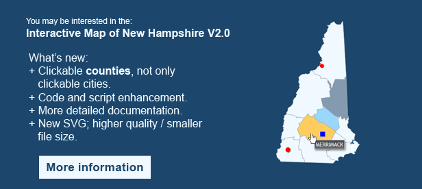 Interactive Map of New Hampshire - Clickable Counties