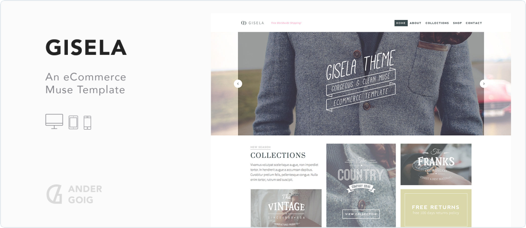 Gisela - eCommerce Muse Template