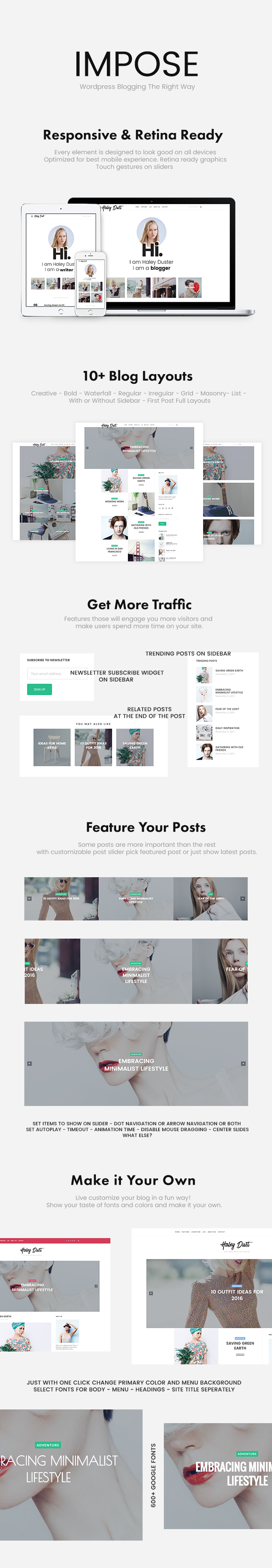 impose blog theme features