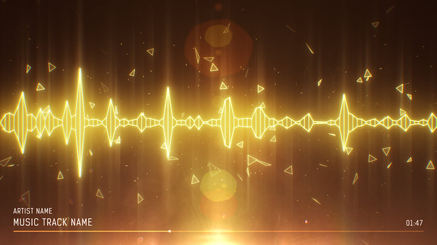 SoundVisible Audio Spectrum Visualizer | Linear Spikes Template | Color Preset: Gold