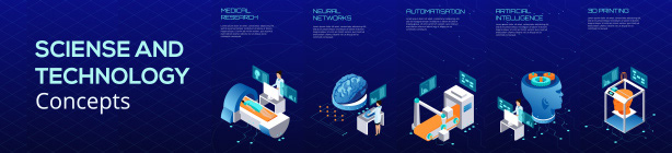 Science And Technology. Isometric Template