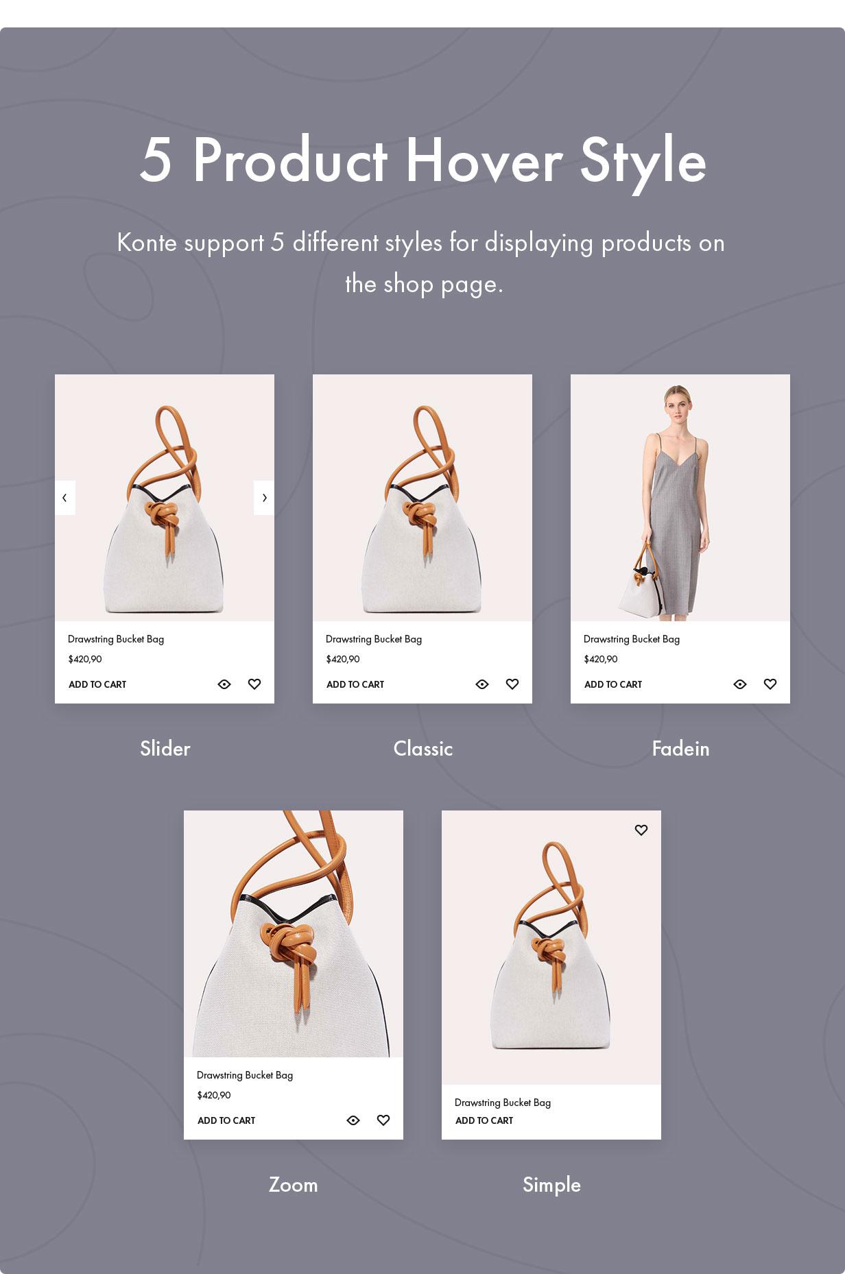 Konte WooCommerce theme - Shop page layouts