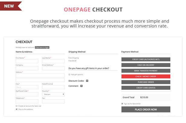 H2shop - Onepage checkout