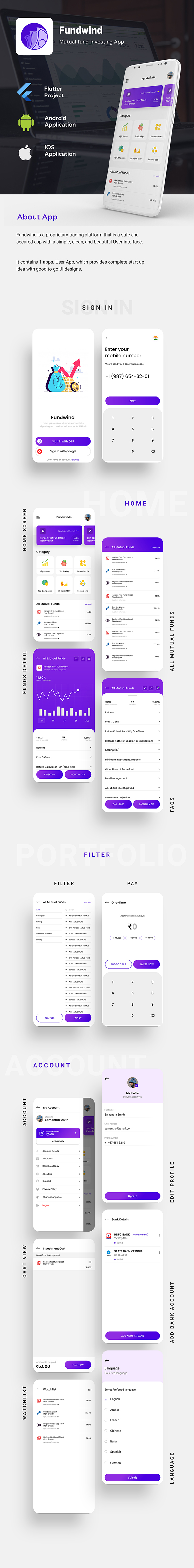 Mutual Fund Investment Template   trading Android + iOS Template   FLUTTER   Fundwind - 1