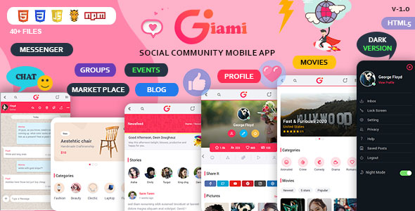 Giami Social Network Mobile App UI Tool Kit free download