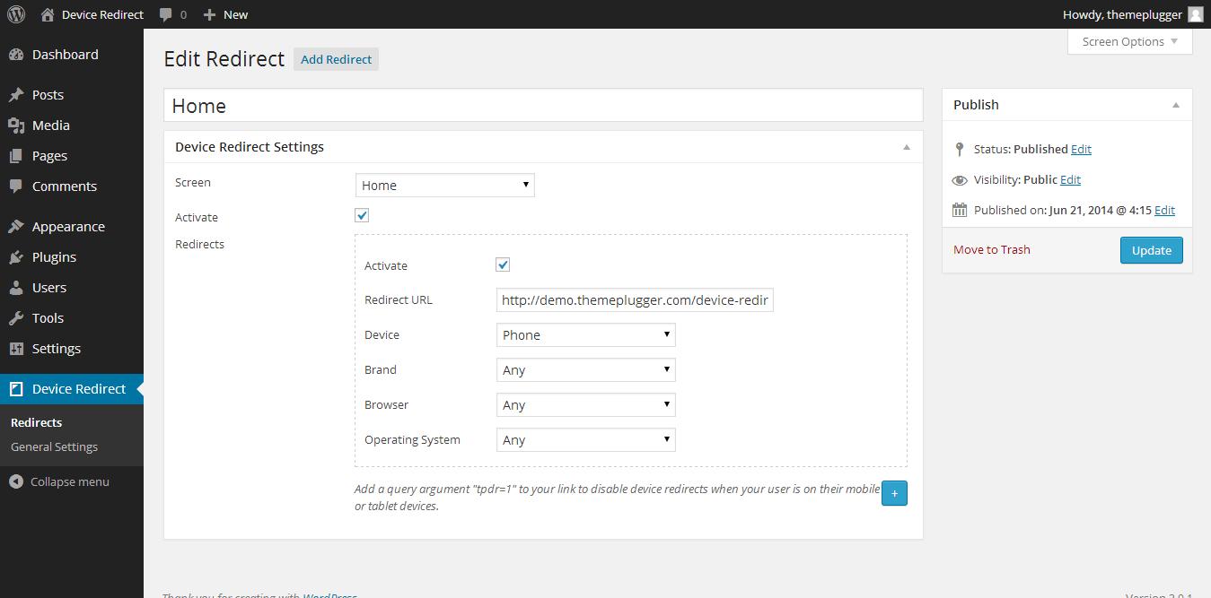 Device Redirect - WordPress Phone &Tablet Redirect - 4
