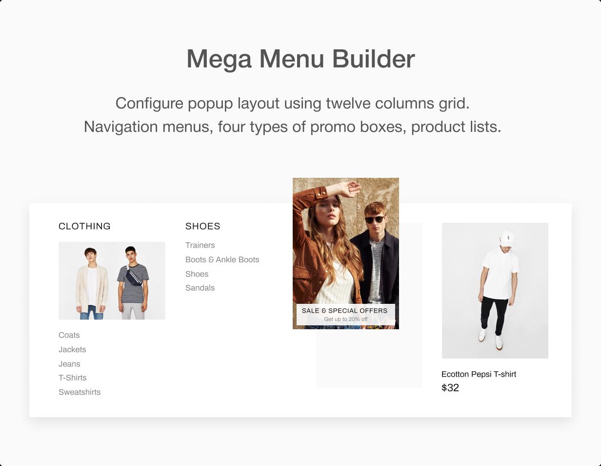 MegaMenu builder at Shella Shopify theme
