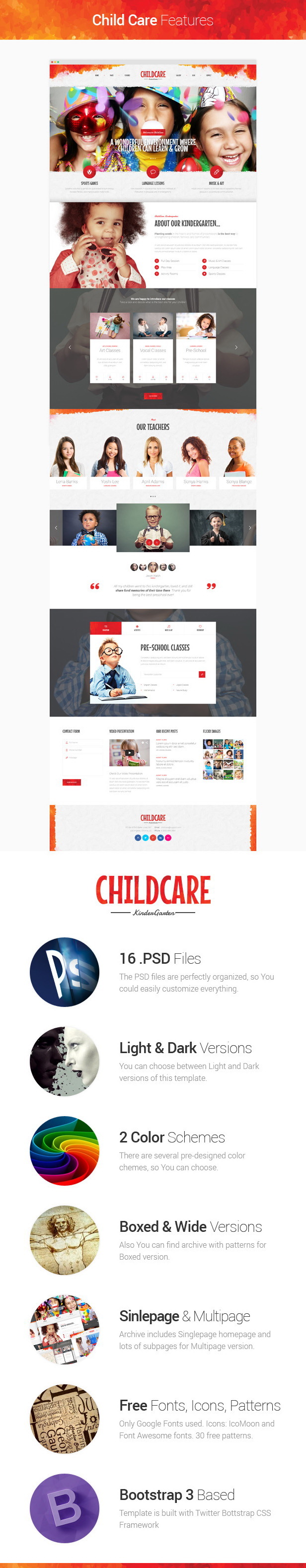 Child Care - Children & Kindergarten Template description