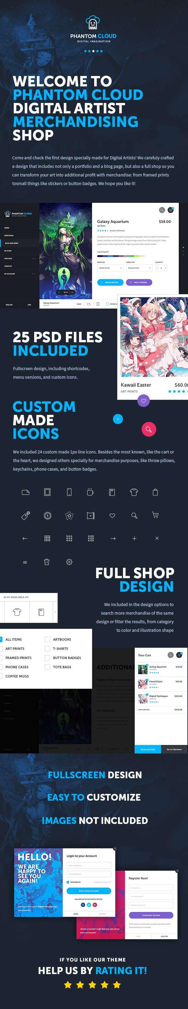 Phantom Cloud - Digital Artist Merchandising Shop PSD Template - 6