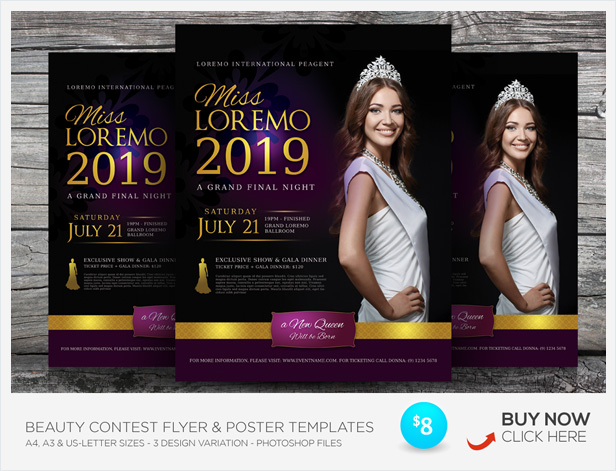 beauty pageant flyer templates by kinzishots graphicriver