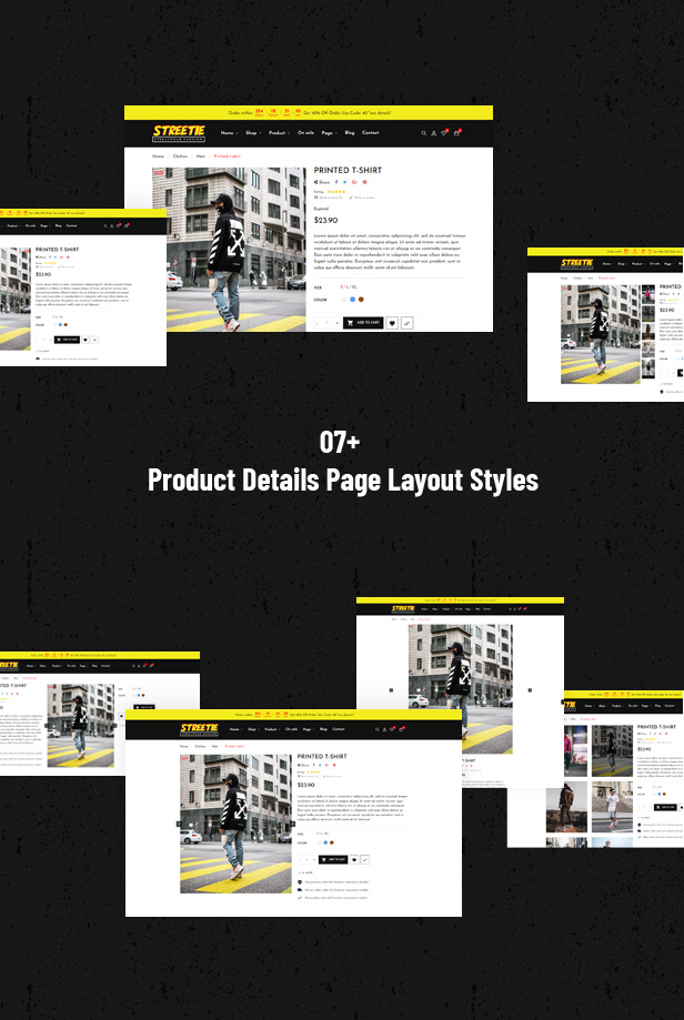 Various Product Page Layouts to display Fashion items detail information
