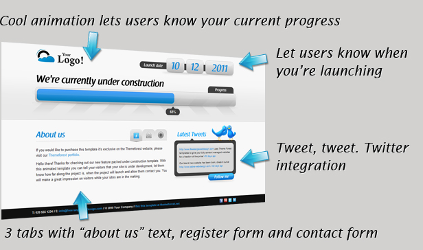 Animated Under Construction - Twitter & Ajax forms - 6