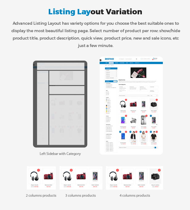 eCommerce Prestashop Shopping Theme - listing