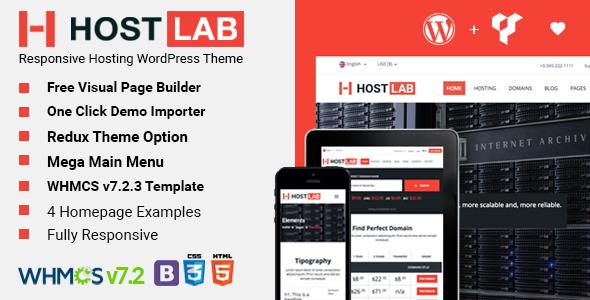 HostLab - Responsive Hosting Service With WHMCS WordPress Theme - Hosting Technology