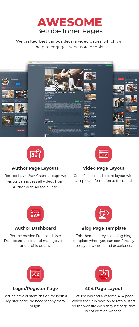betube video WordPress theme pages
