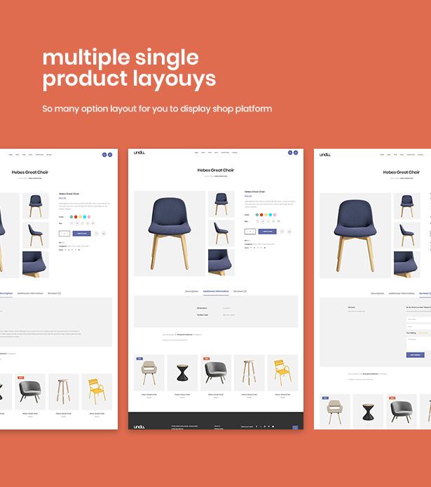Various Product Page Layouts Undu - Furniture & Fashion WooCommerce WordPress Theme