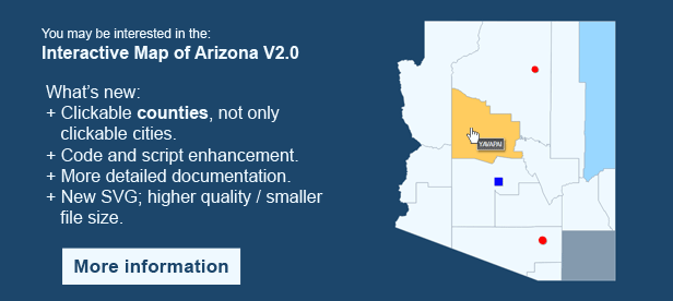 Interactive Map of Arizona - Clickable Counties
