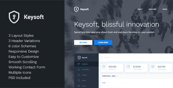 KeySoft - Software Landing Page - Software Technology