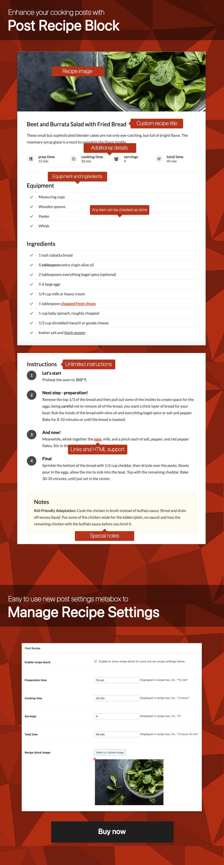 Ultimate Post Recipe plugin for WordPress
