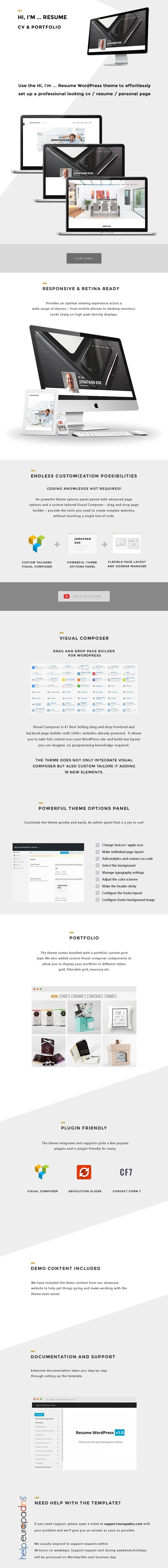Hi, I'm - Responsive Resume / CV WordPress Theme