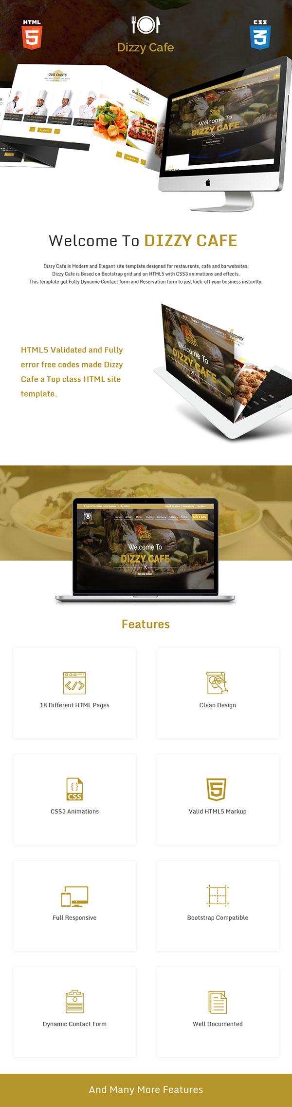 Dizzy Cafe - Responsive Restaurant/Cafe Site Template - 1