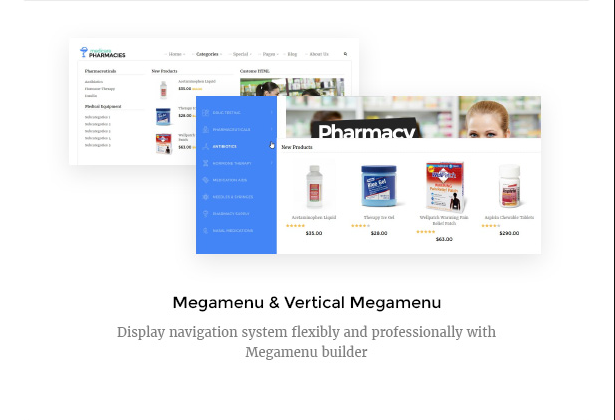 Medicare Pharmacies healthcare wordpress theme with flexible mega menu