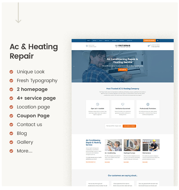 Clean & Modern Ac repair website template