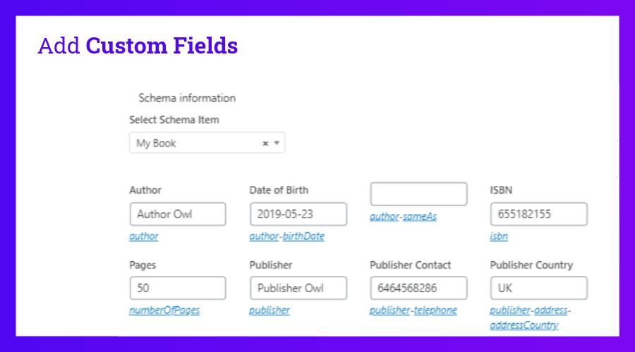 Add Custom fields (Fields for properties)