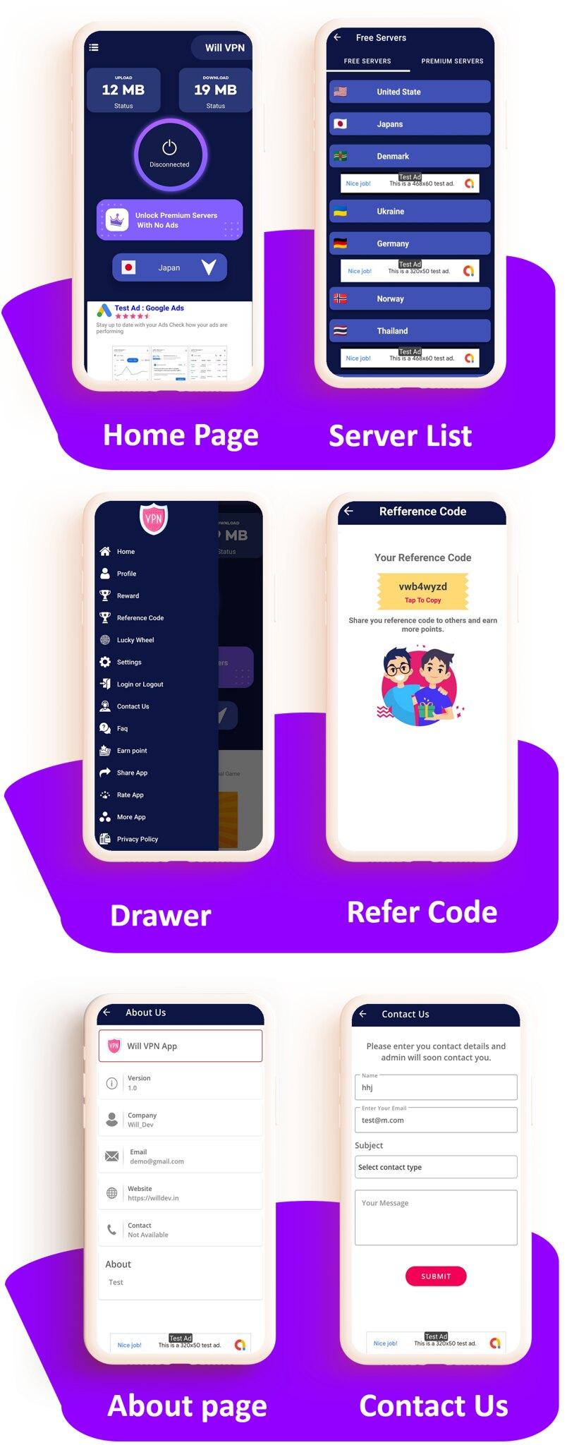WILL VPN App - VPN App With Admin Panel | Secure VPN & Fast VPN | Refer & Earn | Reward Lucky Wheel - 5