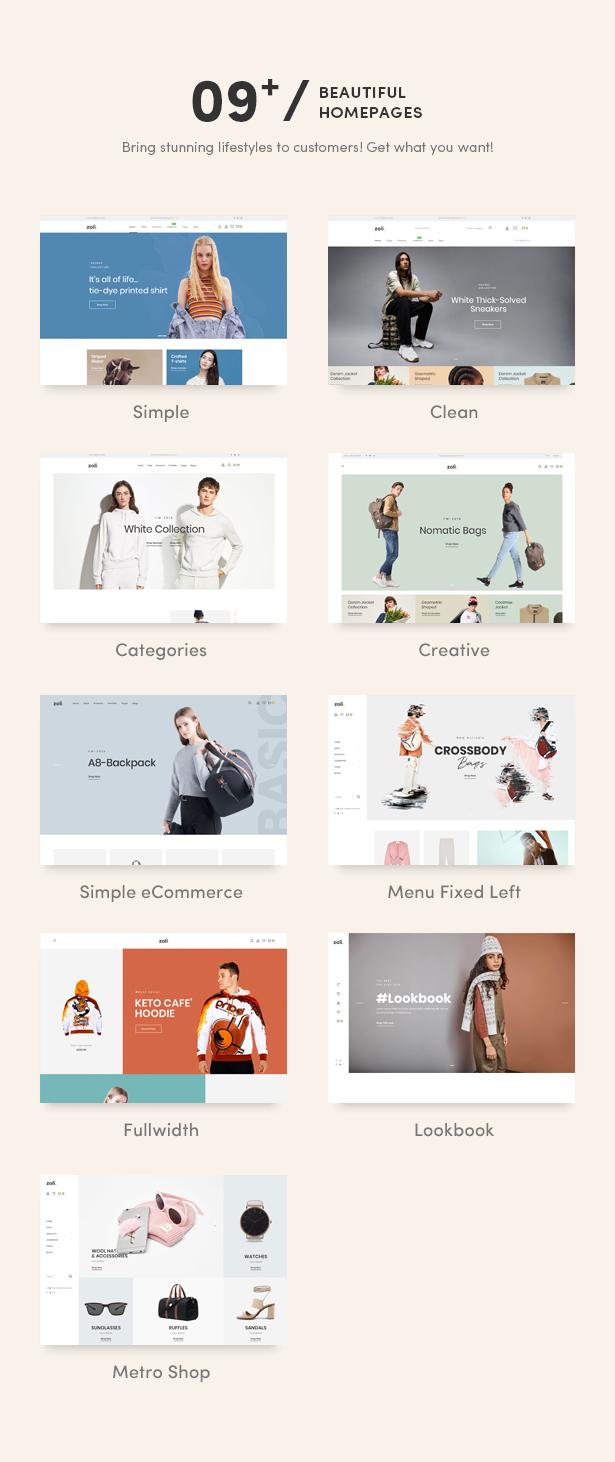 09+ Eye-Catchy Premade Homepages - Zoli - Minimal & Modern Fashion WooCommerce WordPress Theme