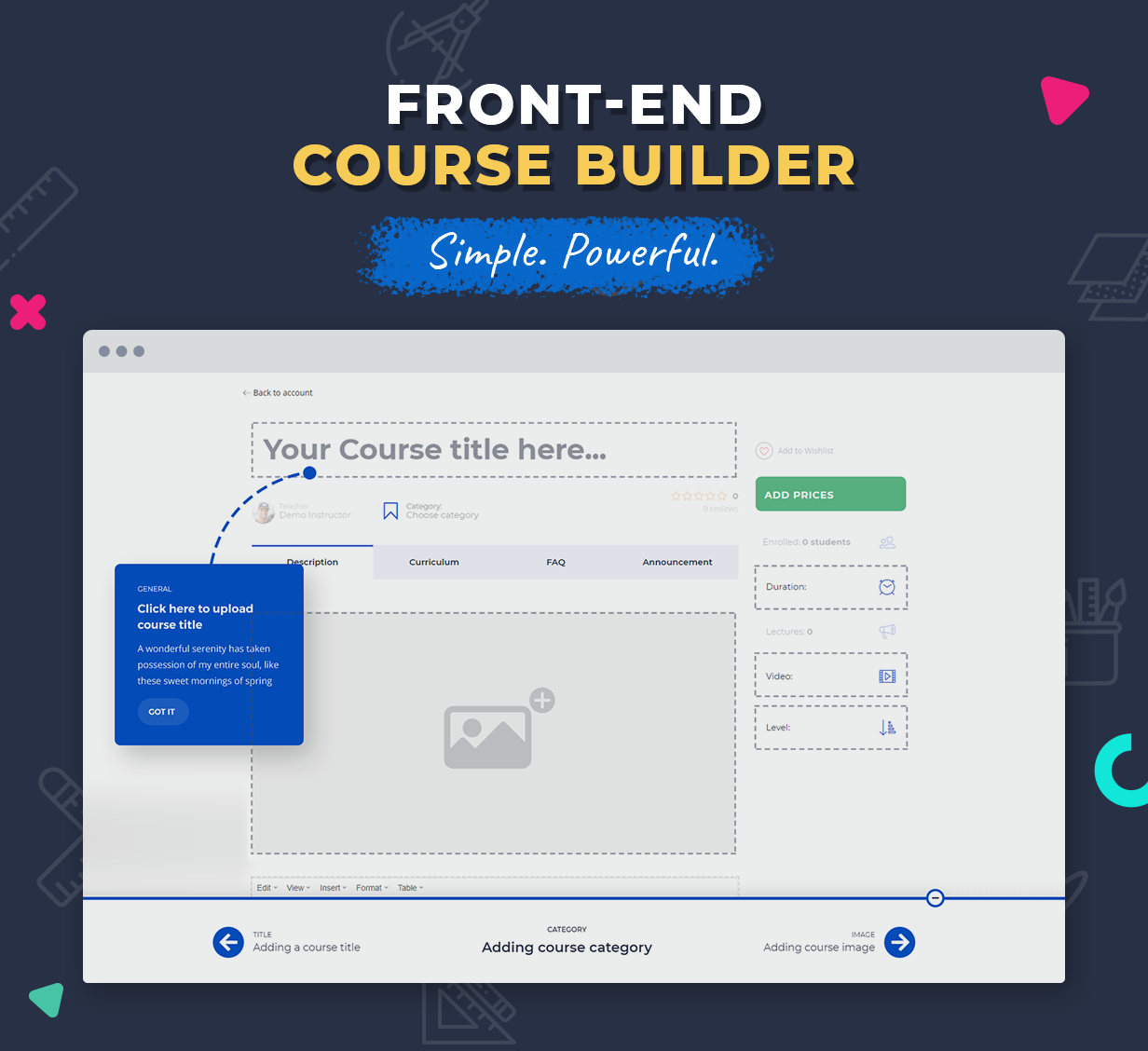 Front End Course Builder in Education WordPress Theme