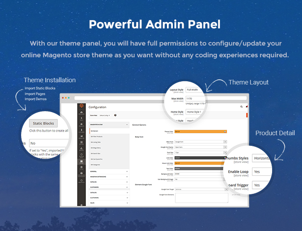 Market - Premium Responsive Magento 2 & 1.9 Store Theme - admin panel
