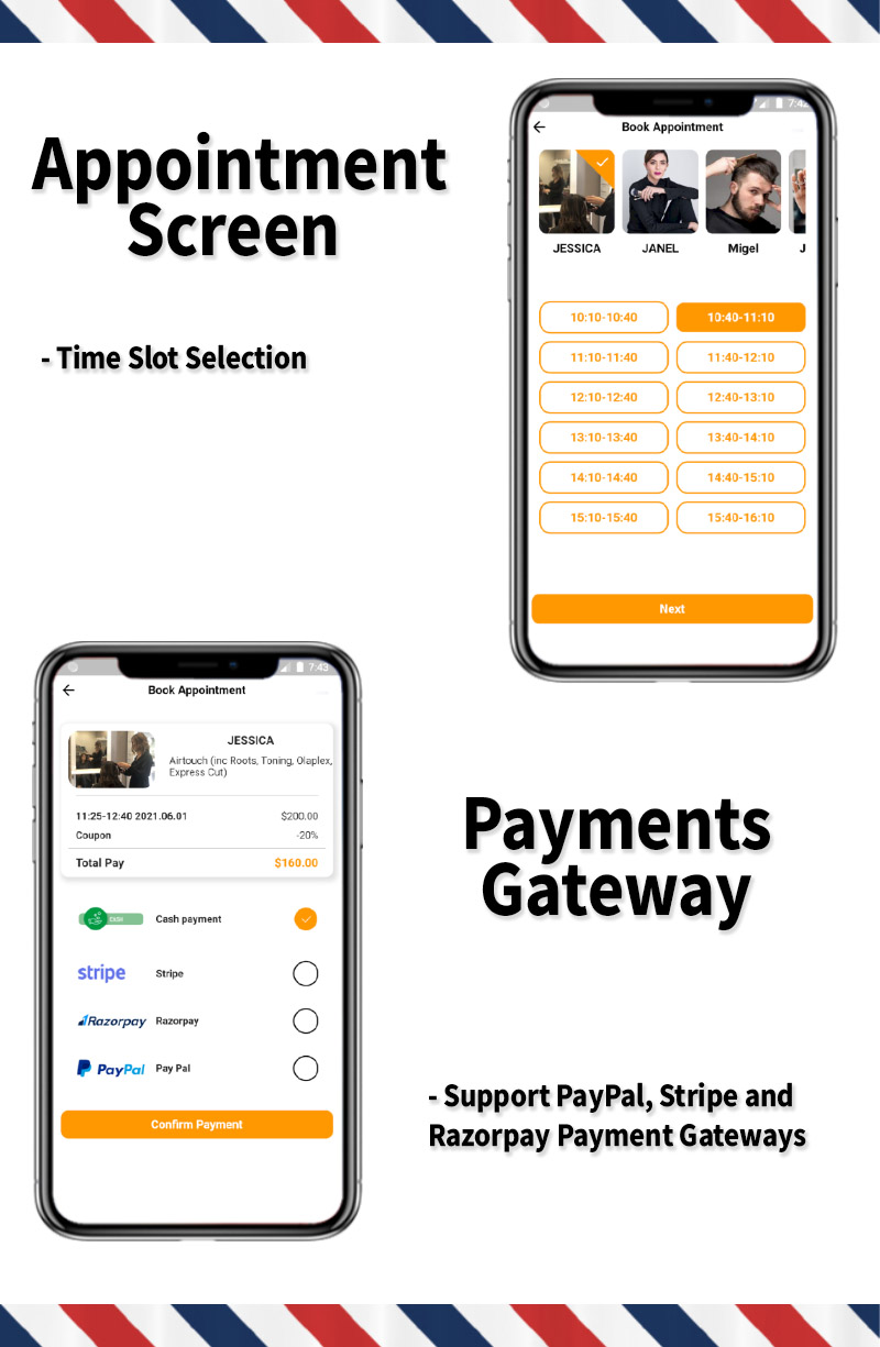 Single Barbershop, Salon Booking App - Full Flutter Application with Admin Panel (Android+iOS) - 6