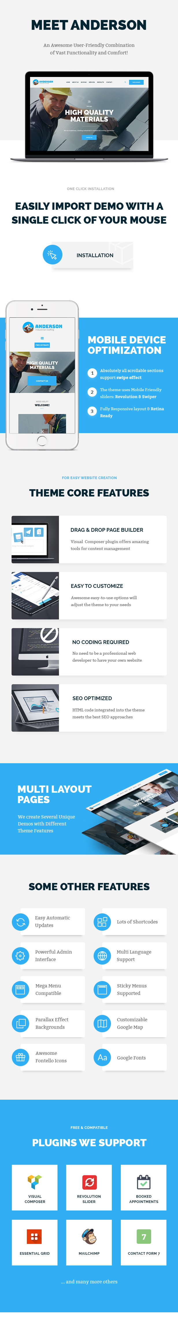 Anderson | Industrial Roofing Services WordPress Theme - 1