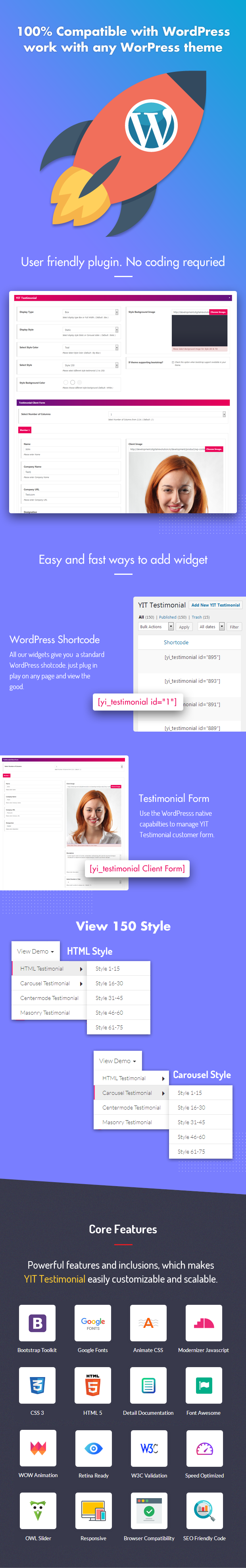 YIT Testimonial Showcase WordPress Plugin
