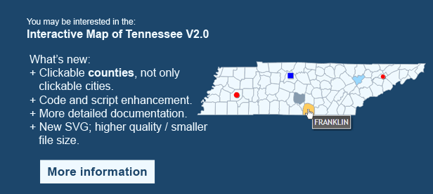Interactive Map of Tennessee- Clickable Counties