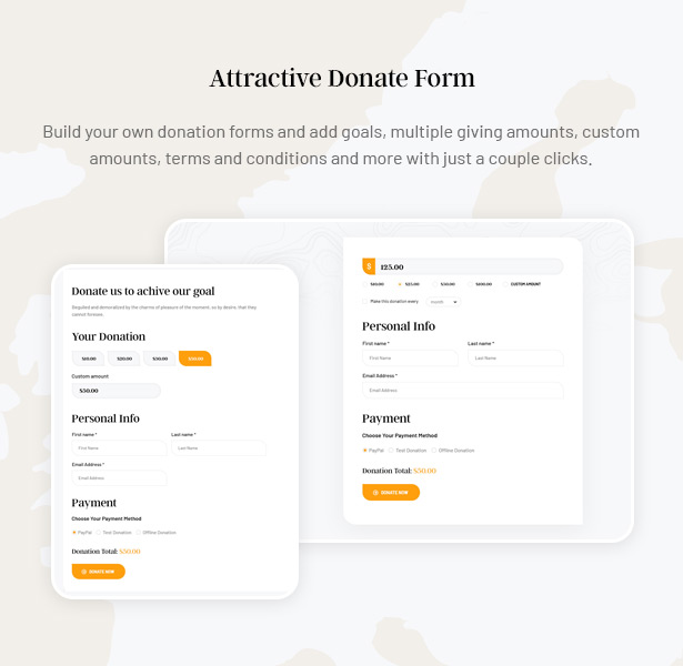 Gainlove Nonprofit WordPress Theme - Donate Form