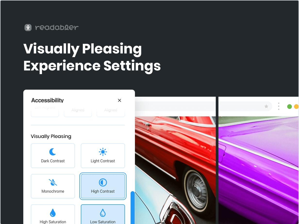 Visually Pleasing Experience Settings