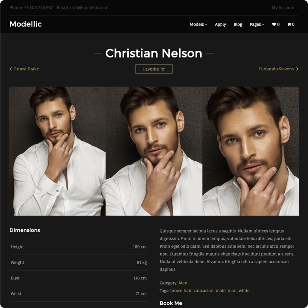Modellic. Model Agency WordPress Theme