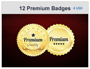12 Gold And Silver Premium Badges